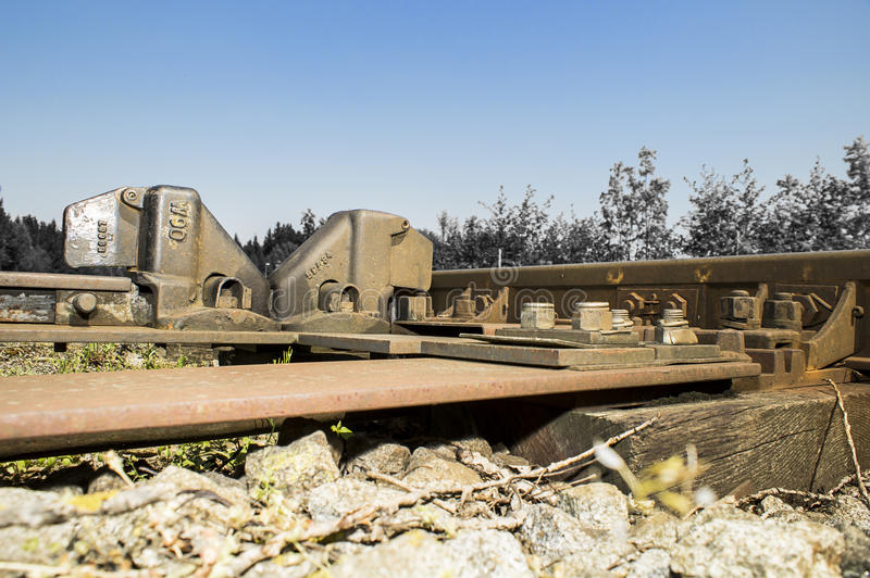 Dettagli ferroviari dei raccordi 016-130509 fotografie stock libere da diritti