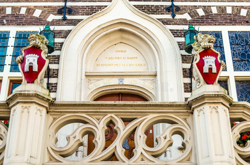 Dettaglio architettonico del comune di Alkmaar fotografia stock