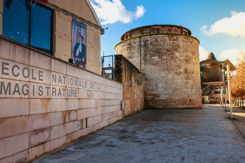 Dettaglio architettonico della scuola nazionale di magistratura immagini stock libere da diritti