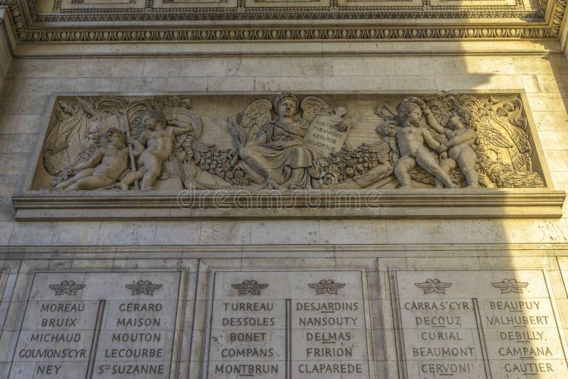 Dettaglio architettonico di Arc de Triomphe fotografia stock libera da diritti