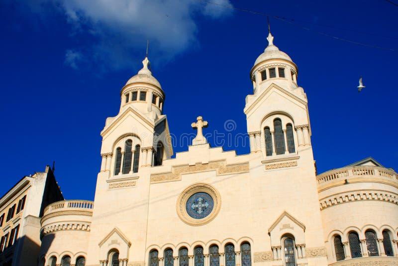 Dettaglio architettonico di Chiesa Valdese a Roma, Italia fotografia stock