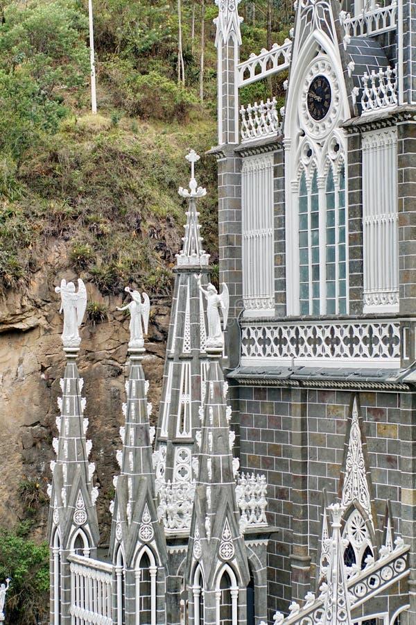Dettaglio architettonico sulla cattedrale di Las Lajas fotografia stock