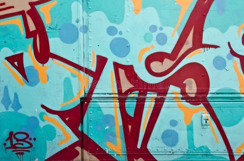 Dettaglio astratto dei graffiti dal lato di un camion fotografia stock