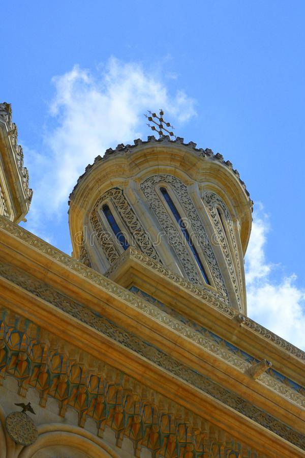 dettaglio Cattedrale piacevole dell'inizio del XVI secolo di Curtea de Arges fotografie stock