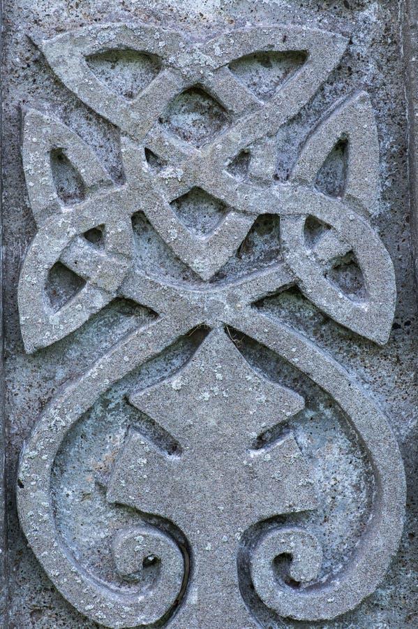 Dettaglio celtico della lapide di simbolo di progettazione fotografia stock libera da diritti