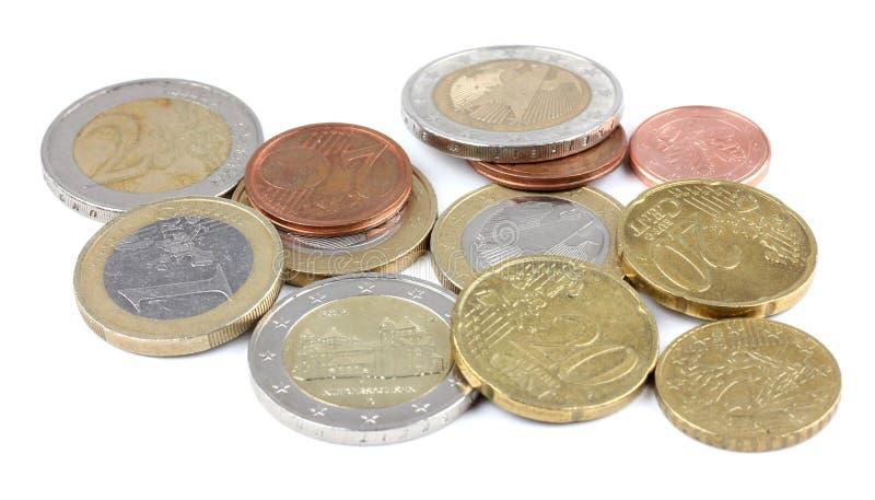 Dettaglio degli euro soldi del penny di vista superiore macro fotografie stock libere da diritti