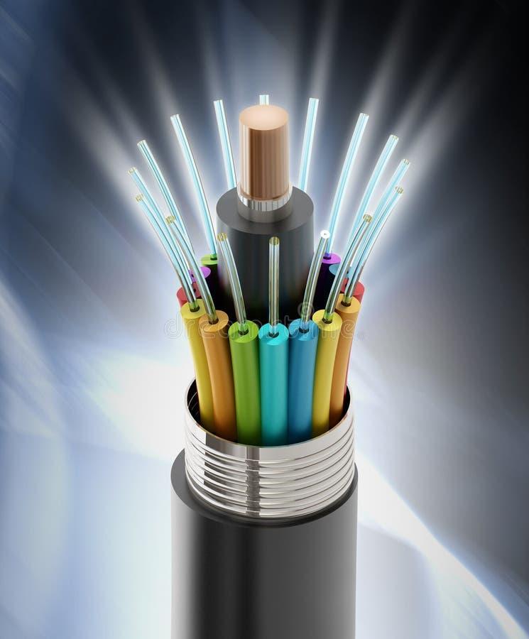 Dettaglio del cavo ottico della fibra illustrazione di stock