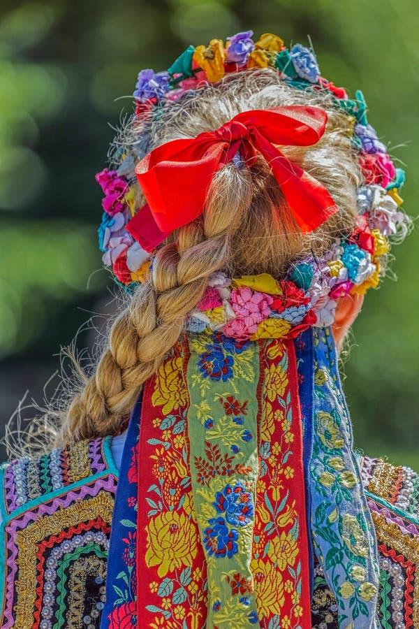 Dettaglio del costume piega polacco per la donna fotografie stock libere da diritti