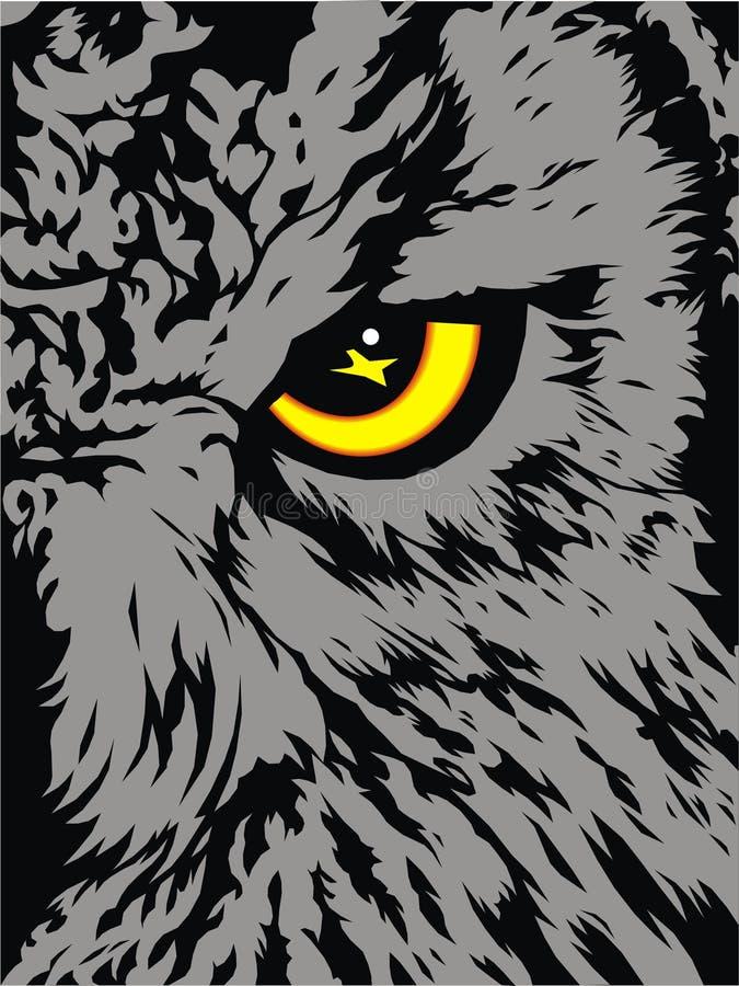 Dettaglio del gufo (il suo occhio giallo) royalty illustrazione gratis