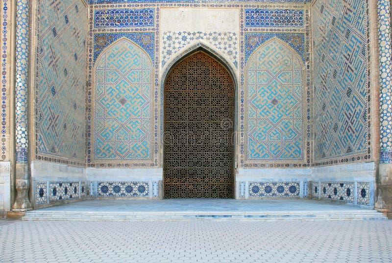 Dettaglio del portale dell'entrata Bibi Khanum Mosque immagine stock libera da diritti