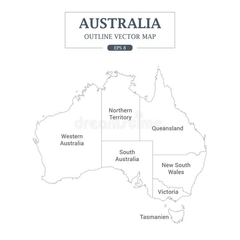 Dettaglio del profilo della mappa dell'Australia l'alto ha separato tutti gli stati illustrazione vettoriale
