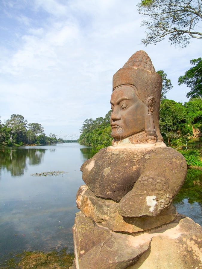Dettaglio del tempio a Ankor Thom immagine stock libera da diritti