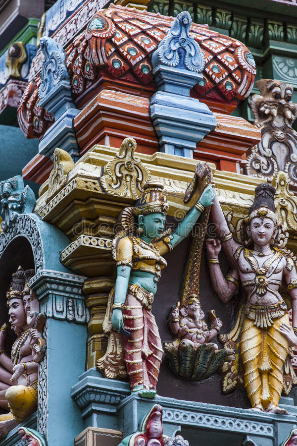 Dettaglio del tempio di Meenakshi a Madura, India fotografia stock