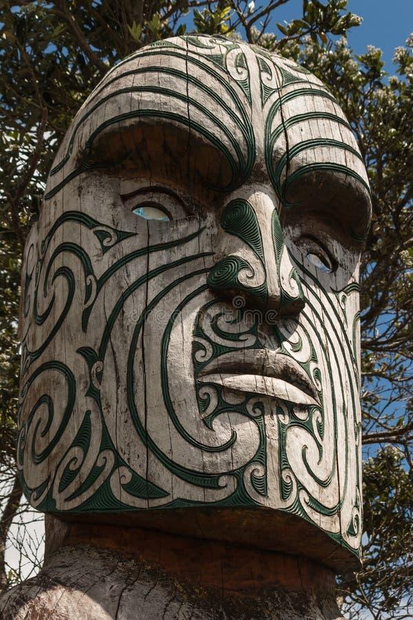 Dettaglio del totem maori immagine stock