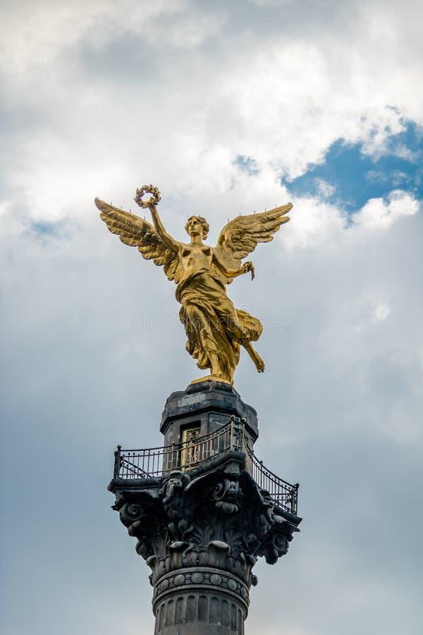 Dettaglio dell'angelo del monumento di indipendenza - Città del Messico, Messico fotografia stock libera da diritti