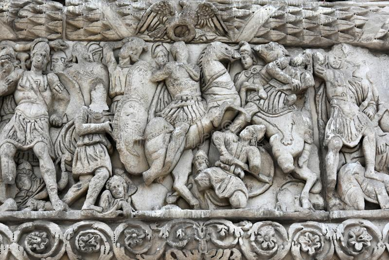 Dettaglio dell'arco trionfale di Galerio - Salonicco fotografia stock