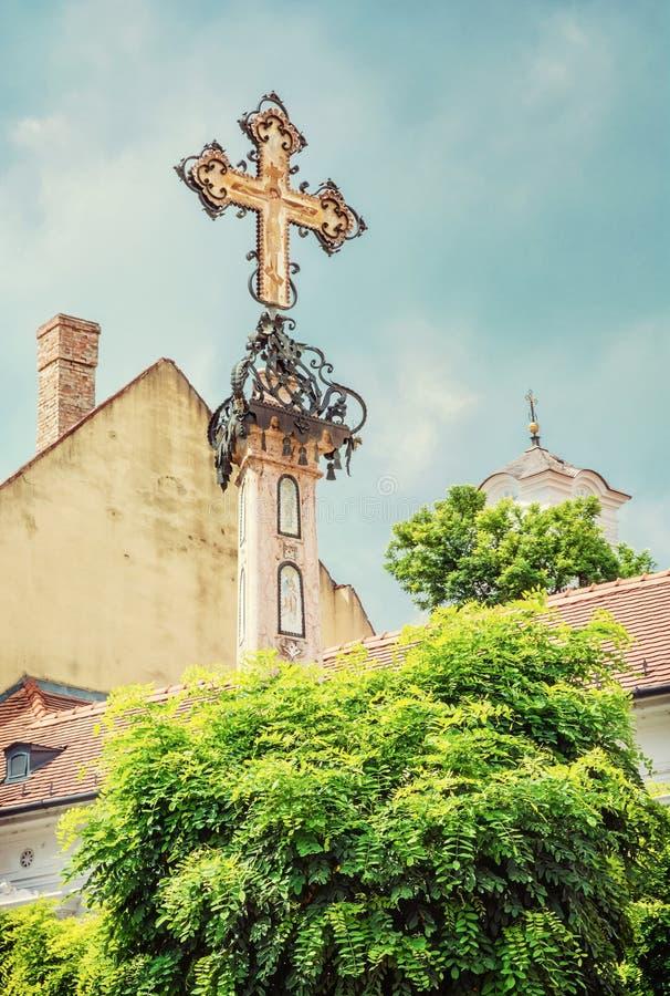 Dettaglio dell'incrocio santo in Szentendre, Ungheria, vecchio filtro fotografia stock