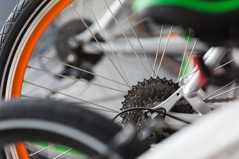 Dettaglio dell'ingranaggio della bicicletta fotografie stock