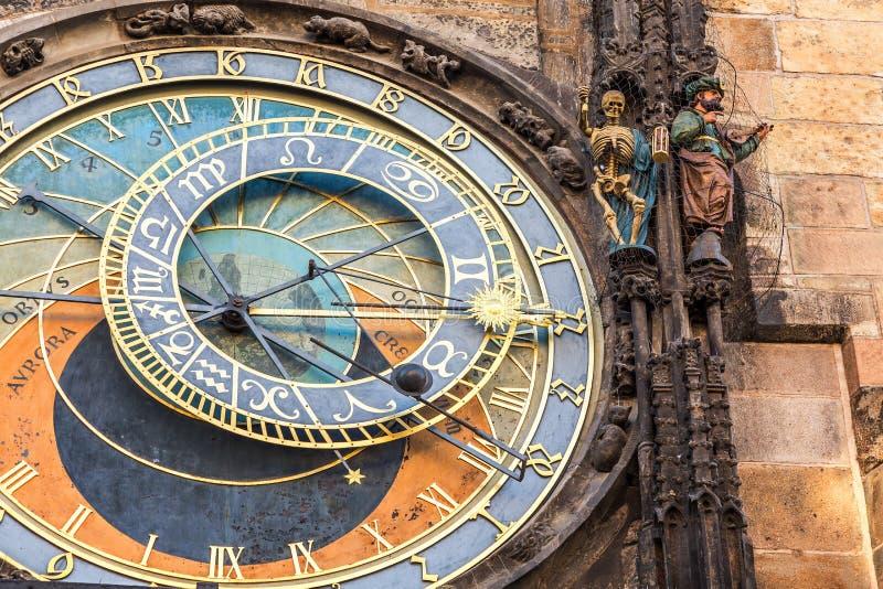 Dettaglio dell'orologio astronomico nel quadrato di Città Vecchia a Praga, repubblica Ceca fotografie stock libere da diritti