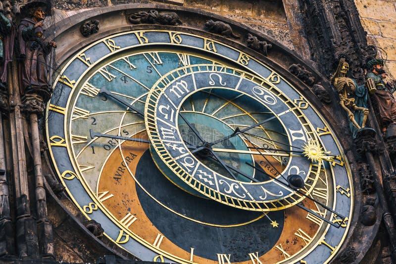 Dettaglio dell'orologio astronomico nel quadrato di Città Vecchia a Praga, repubblica Ceca Immagine tonificata fotografia stock