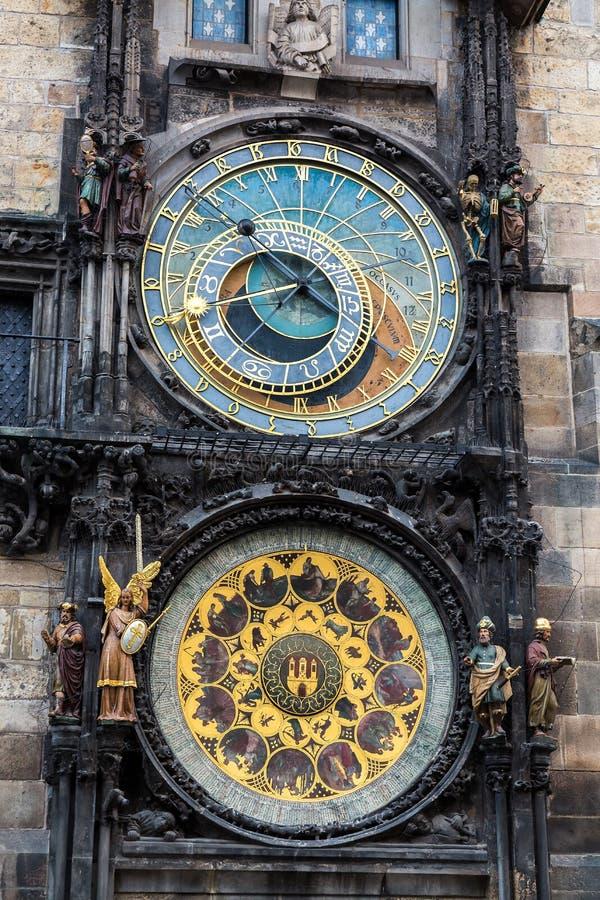 Dettaglio dell'orologio astronomico nel quadrato di Città Vecchia a Praga, repubblica Ceca Immagine tonificata immagini stock libere da diritti