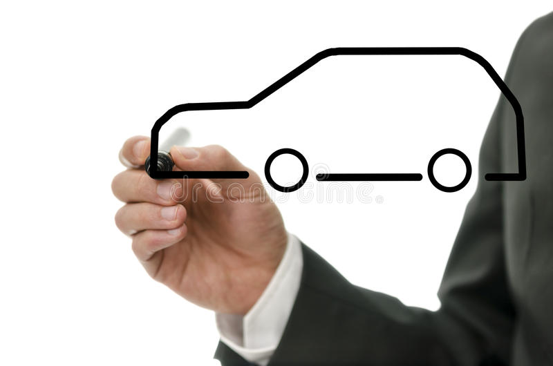 Dettaglio dell'uomo d'affari che estrae un'automobile astratta fotografia stock