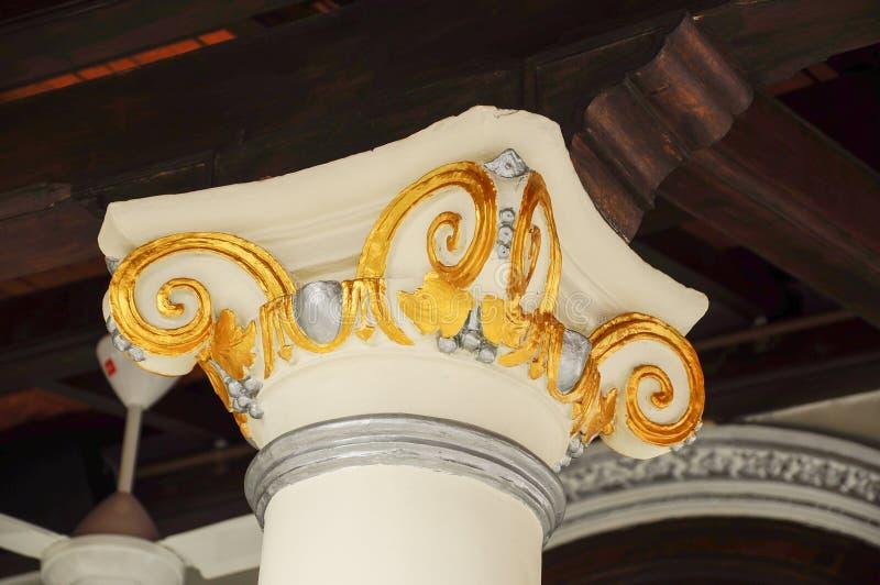 Dettaglio della colonna della moschea di Kampung Kling al Malacca, Malesia immagine stock libera da diritti