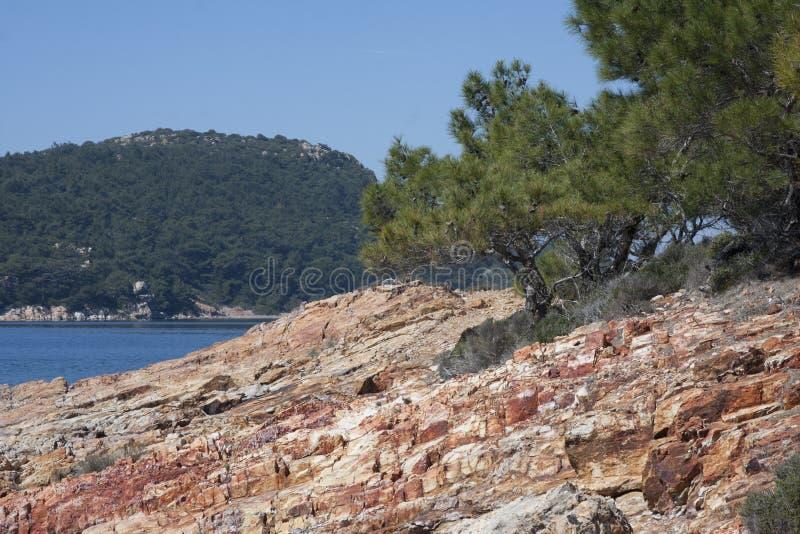 Dettaglio della costa di Aegan fotografie stock