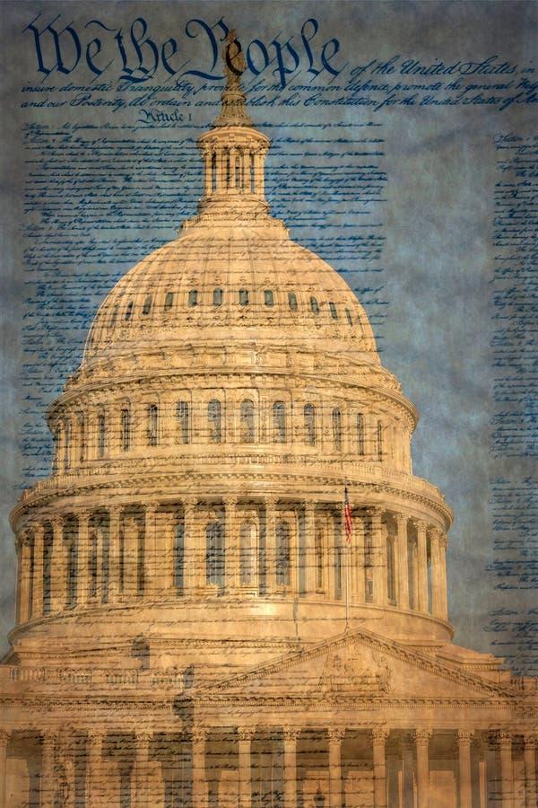 Dettaglio della costruzione del Campidoglio degli Stati Uniti a Washington D C con la dichiarazione famosa immagini stock libere da diritti