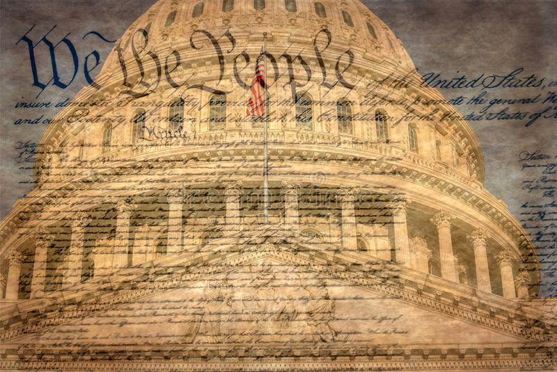 Dettaglio della costruzione del Campidoglio degli Stati Uniti a Washington D C con la dichiarazione famosa immagine stock libera da diritti