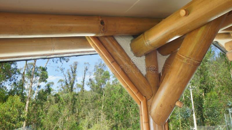 Dettaglio della costruzione di una casa con la struttura dei tronchi di bambù fotografia stock
