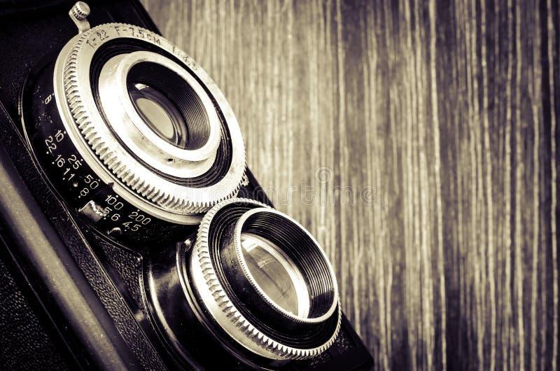 Dettaglio della macchina fotografica antiquata nello stile d'annata fotografia stock libera da diritti