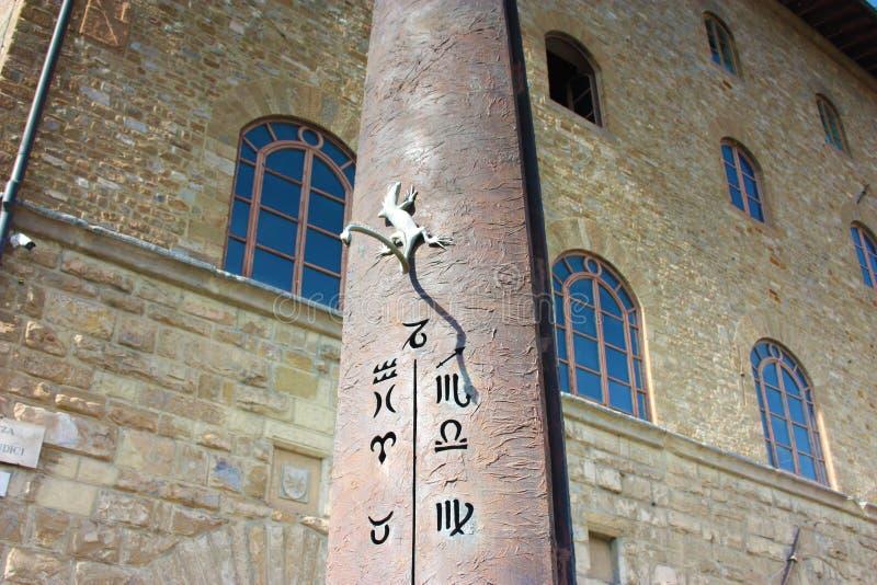 Dettaglio della meridiana con la lucertola davanti a Galileo Museum, all'istituto ed al museo della storia di scienza, fotografia stock libera da diritti