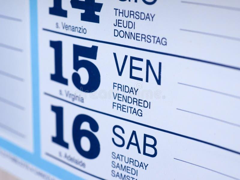 Dettaglio della pagina del calendario immagine stock libera da diritti