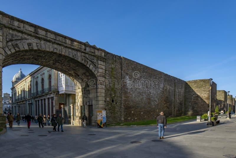 Dettaglio della parete romana famosa di Lugo, Spagna fotografie stock libere da diritti