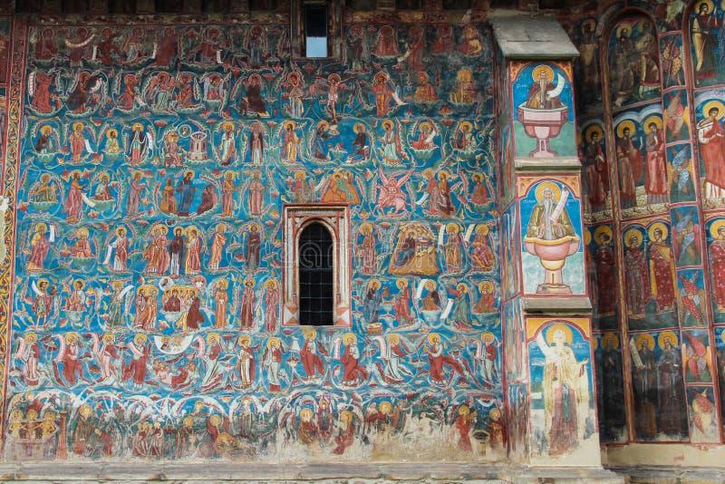 Dettaglio della pittura del monastero di Moldovita immagini stock libere da diritti