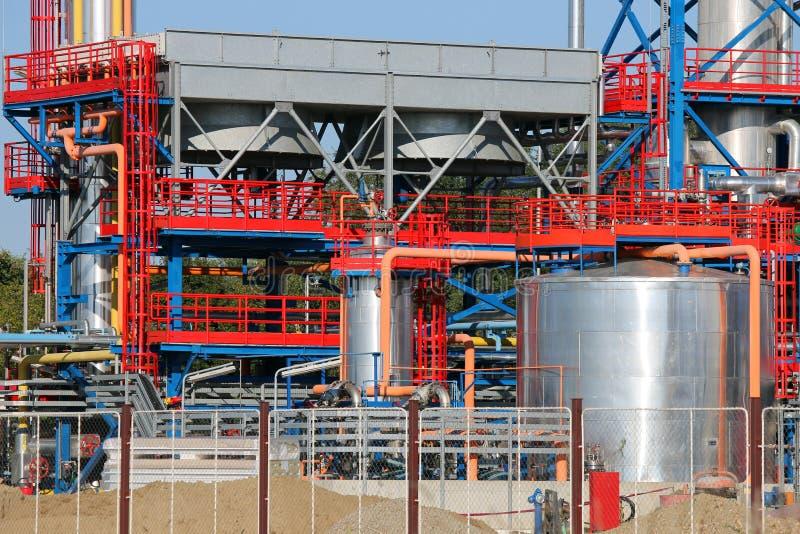 Dettaglio della raffineria dell'olio vegetale di centrale petrolchimica fotografia stock