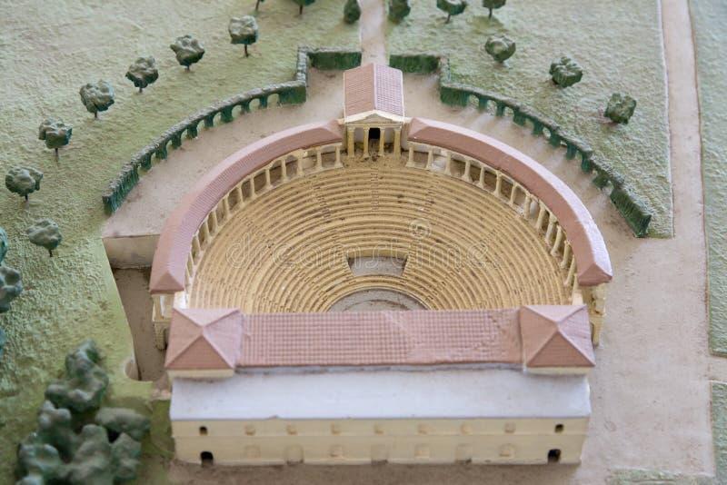 Dettaglio della replica di modello della villa Adriana (a Tivoli, vicino a Roma) un complesso eccezionale delle costruzioni class immagini stock