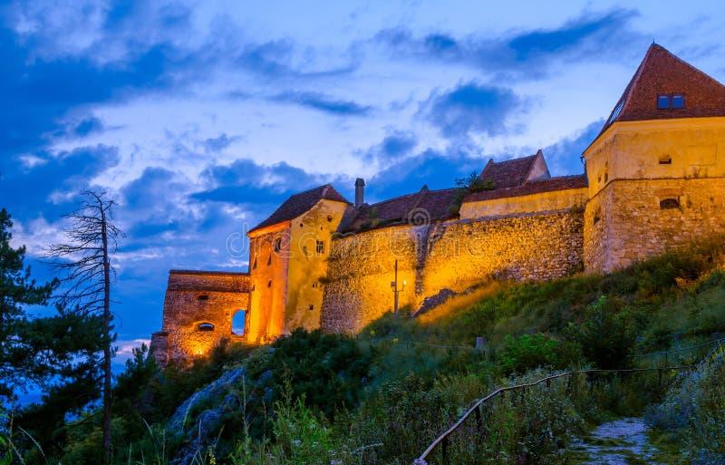 Dettaglio di Achitectural della fortezza di Rasnov fotografia stock