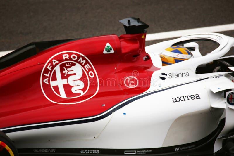 Dettaglio di Alfa Romeo determinato da ericsson a Monza 2018 immagine stock