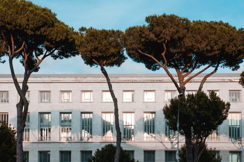 Dettaglio di architettura di una costruzione in Roma Eur fotografia stock libera da diritti