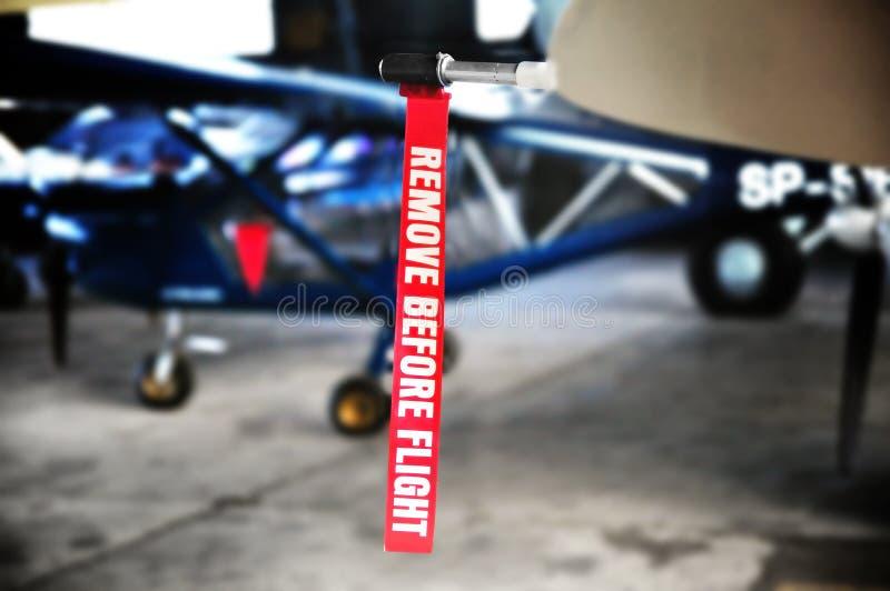 Dettaglio di aviazione - rimuova prima del nastro di volo fotografia stock libera da diritti