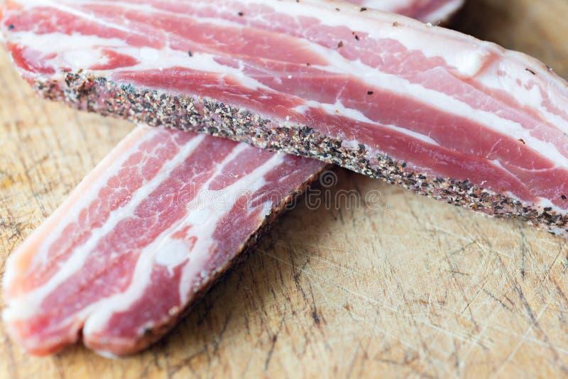 Dettaglio di bacon crudo fotografie stock libere da diritti