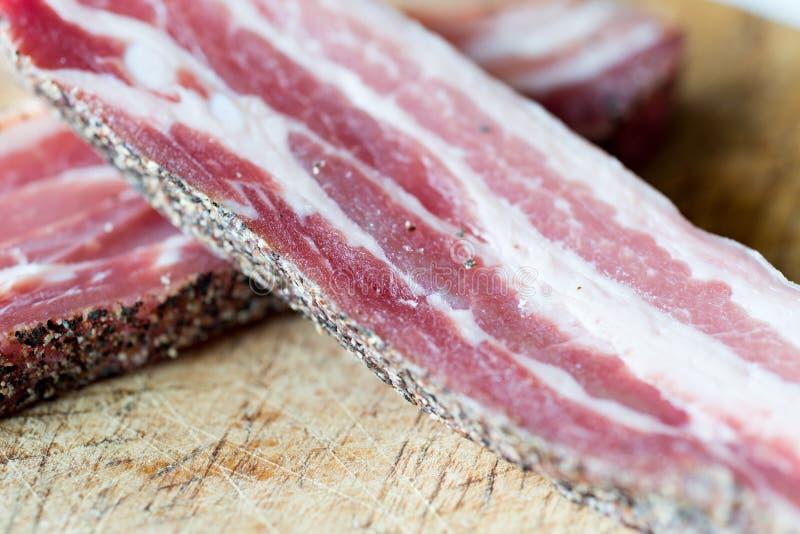 Dettaglio di bacon crudo fotografia stock