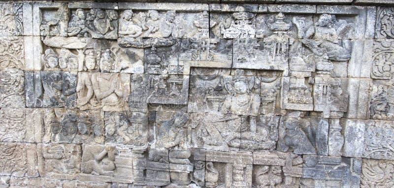 Dettaglio di Borobudur al primo mattino immagine stock