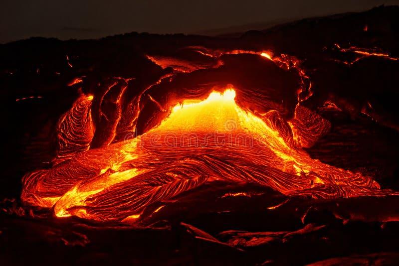 Dettaglio di flusso di lava delle Hawai Kilauea fotografia stock
