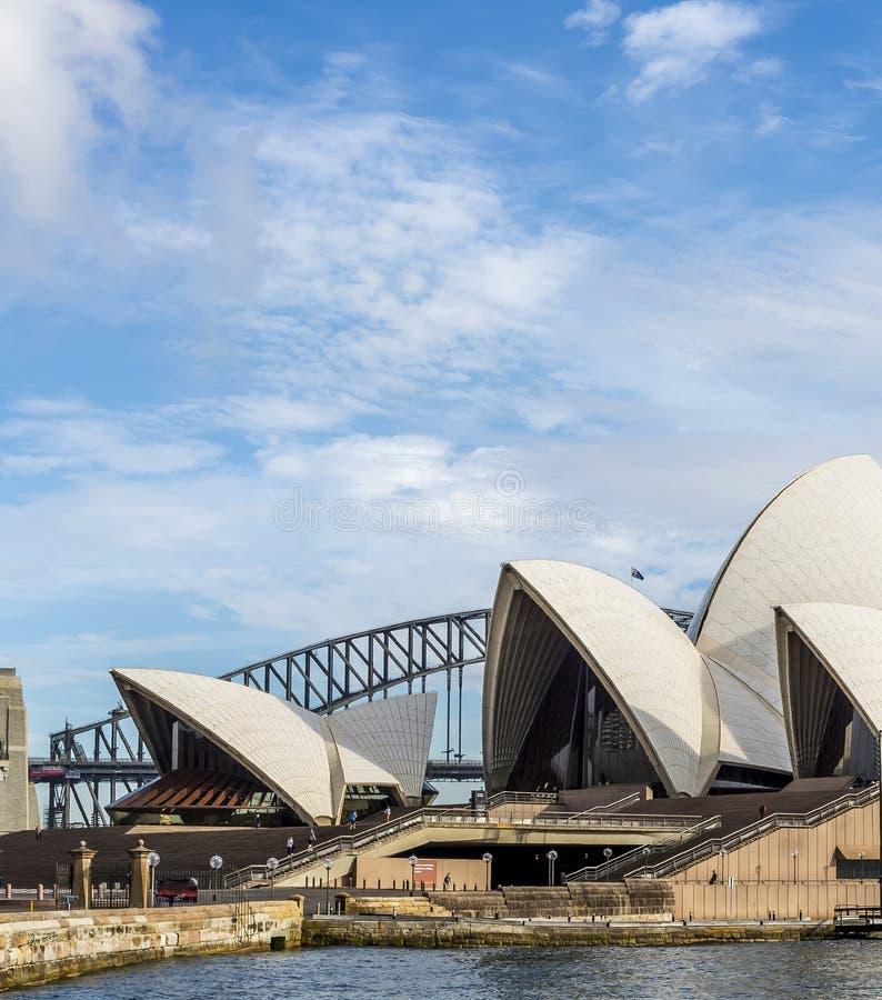 Dettaglio di Sydney Opera House e del ponte del porto, Australia fotografie stock