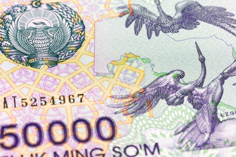 Dettaglio di un complemento della banconota del som di 50000 usbek immagini stock libere da diritti