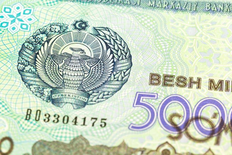 Dettaglio di un complemento della banconota del som di 5000 usbek immagini stock libere da diritti