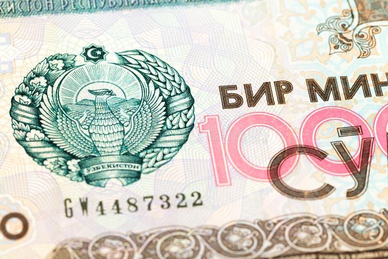 Dettaglio di un complemento 1000 della banconota del som del usbek fotografie stock libere da diritti